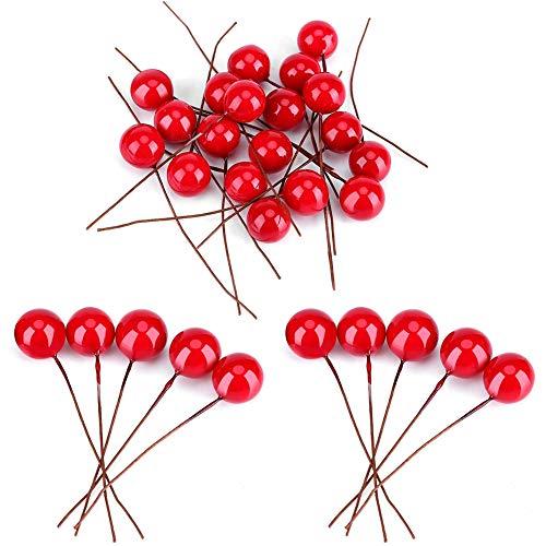 BETOY Bayas de Frutas Artificiales, 200 Piezas Bayas de Acebo Artificiales de Navidad Realista y Compacto Bayas de Acebo Artificiales para Decoración Navideña, Guirnalda, Postal, Decoración de Regalo