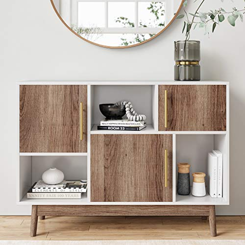 Nathan James Ellipse Multipurpose Storage Cabinet with Display Shelves and Doors, Entryway Modern Buffet or Kitchen Sideboard with Glam Gold Brass Accent, TV Stand, White