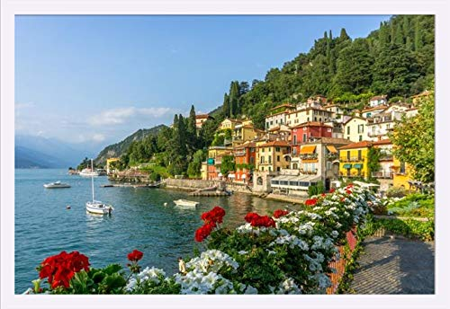 Varenna, Lake Como, Italy - Red Flowers & Colorful Coastal Buildings 9017924 (36x24 Giclee Art Print, Gallery Framed, White Wood)