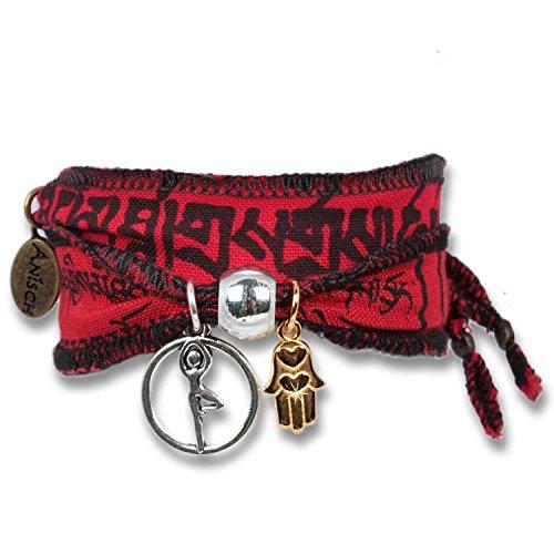 Fire Yoga Spirit - Pulsera de Deseos y de la Suerte, Hecha con Banderas de oración tibetanas. La Tela de algodón de Calidad es imprimida con Mantras budistas. para los fanáticos de de Yoga