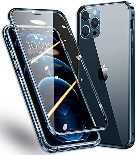 Carcasa para iPhone 12 Pro Max, carcasa 360° Full Body rígida, protección magnética, antigolpes de metal, delantera y trasera, cristal templado transparente, para Apple 12 Pro Max 6,7 pulgadas, azul