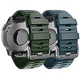 ANBEST Silicona Pulsera Compatible con Fenix 6X/Fenix 5X/Fenix 5X Plus/Fenix 6X Pro Correa, 26mm Repuesto de Liberación Rápida Correa para Fenix 3/3 HR Smart Watch, Verde Ejército, Piedra