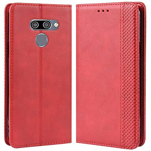 HualuBro Handyhülle für LG Q60 Hülle, LG K50 Hülle, Retro Leder Stoßfest Klapphülle Schutzhülle Handytasche LederHülle Flip Hülle Cover für LG Q60 / LG K50 Tasche, Rot