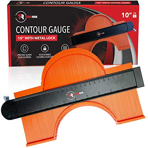 Contour Gauge Shape Duplicator - 10 Inch Profile Tool With Lock And Ruler - Corner Measuring Template Offers Shape Locking Duplication - Make Perfect Cuts for Woodworking, Flooring, and DIY Jobs