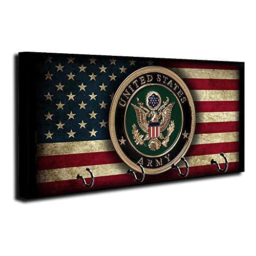 American Flag US Army Emblem Design Key Holder Organizer Wall Mount Rack for Holders The Home Keys Ring Decorative Hangers Decor Hook Hanger