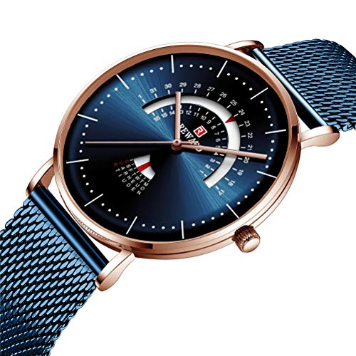 DESHOME Analoge Sport-Quarzuhr für Herren, Business-Armbanduhren mit Wochen-, Kalender- und Edelstahlgitterband für Herren und Jugendliche,Blue