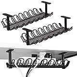 2 paquetes de bandeja de gestión de cables, organizador de cables debajo del escritorio de 35,5 cm para gestión de cables, bandeja de cable de metal pesado para escritorios, oficinas y cocinas (negro)