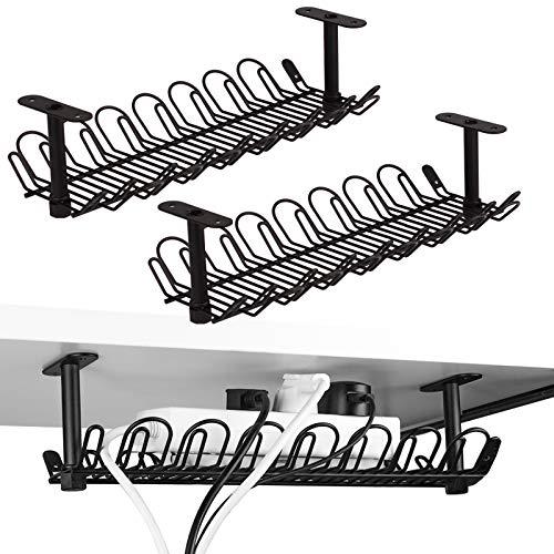2 paquetes de bandeja de gestión de cables, soporte de cable debajo del escritorio de 14 pulgadas para gestión de cables, organizador de cables de metal pesado para escritorios, oficinas y cocinas