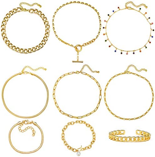 17 MILE Gold Chain Necklace and Bracelet Sets for Women Girls Dainty Link Paperclip Choker Jewelry product image