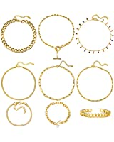 Gold Chain Necklace and Bracelet Sets for Women Girls Dainty Link Paperclip Choker Jewelry for Christmas Gifts (Gold)