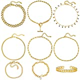 17 MILE Gold Chain Necklace and Bracelet Sets for Women Girls Dainty Link Paperclip Choker Jewelry (Gold)