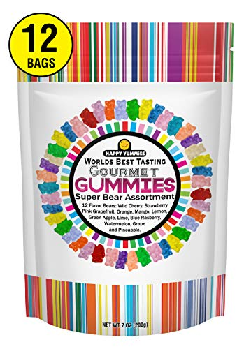 Happy Yummies Worlds Best Tasting Gourmet Gummies Super Bear Assortment 7oz (12 Pack)