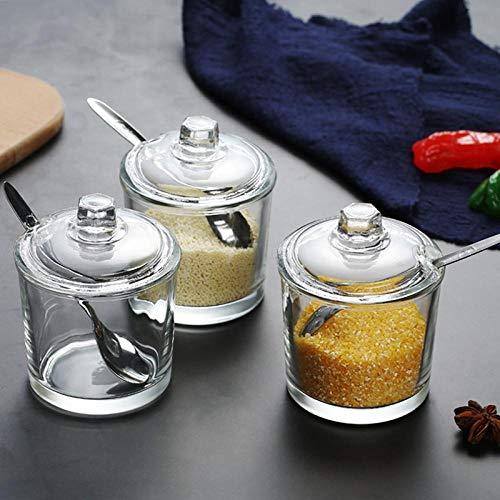 LVYONG Forniture per La Cucina Scatola di Spezie in Vetro per Uso Domestico Scatola di Immagazzinaggio Bottiglia di Shaker Saliera Ciotola di Zucchero Barattolo di Condimento Bottiglia di Condimento