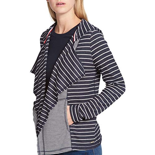 Tommy Hilfiger Womens Hooded Cardigan Sweater, Blue, Large