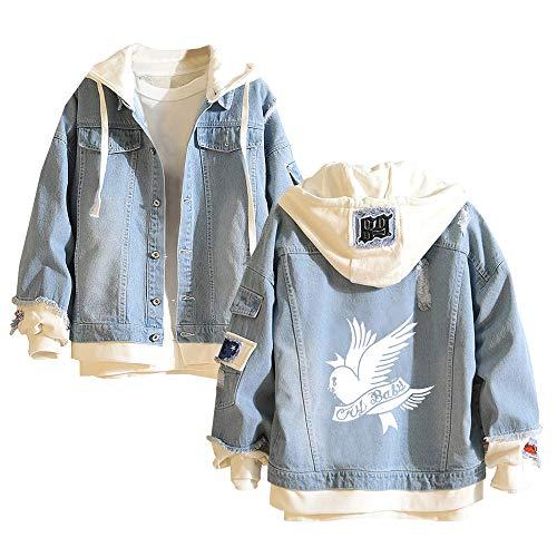 Fhkjhrjlgp Lil PEEP Pullover Simplement Printing Warmhalten in Winterjacke lose Freizeit-bequemen Mantel mit Kapuze Unisex (Color : Blue04, Size : L)