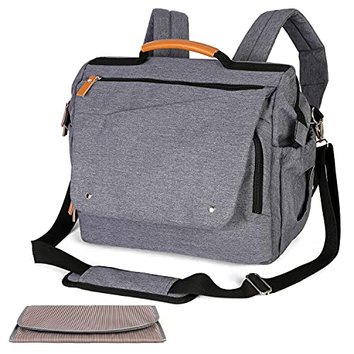 Large Diaper Bag w/Changing Pad, Messenger & Backpack, Convertible Wide Open, Waterproof w/Stroller Belts (Navy Gray)