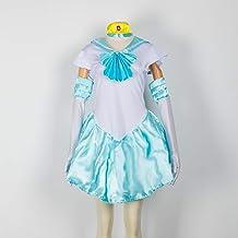 Baipin Disfraz De Sailor Moon Anime Cosplay, Azul Claro Vestido y Guantes Blancos Arco de Princesa Vestido Uniforme de Juego para Mujer, Talla M, Longitud 82cm