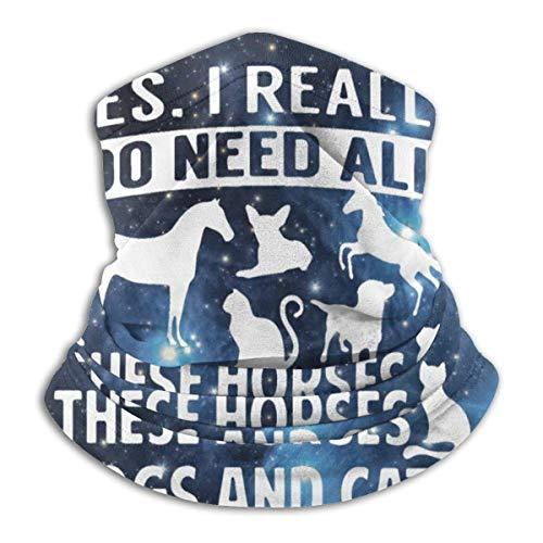 Hdaw I Really Do Need All These Horses Hunde und Katzen Design Muster Unisex Mikrofaser Halswärmer Kopfbedeckung Mundschal Bandana Sturmhaube