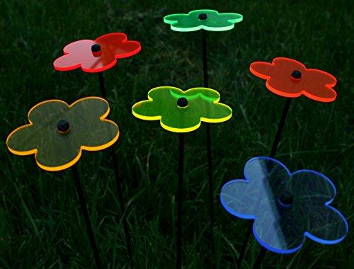 6er Set Ø12cm Leuchtblumen Nr.1 Sonnenfänger Gartenstecker Stab 100cm