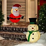 Vanthylit Set of 2 30'' Fluffy Foldable/Pop Up Christmas Snowman and Santa Claus Xmas Indoor Outdoor Decor