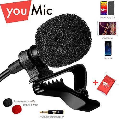 Lavalier Lapel Microphone for iPhone X 8 7 Plus 6 6s 5 5s / iOS/Android   Mini Lav Mic with Clip on Youmic