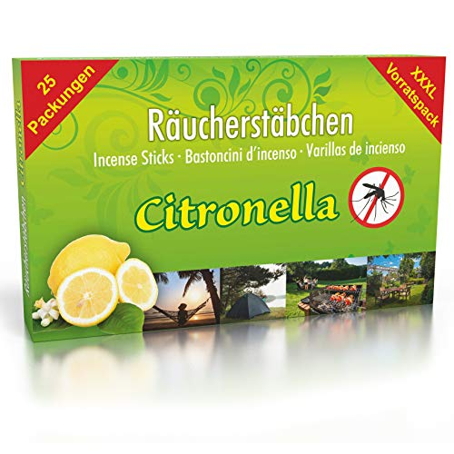 25 paquets d'encens anti-moustiques à la citronnelle, durée de combustion environ 150h (total). Alternative à la bougie à la citronnelle ou aux bougies chauffe-plat pour l'extérieur/dans le jardin