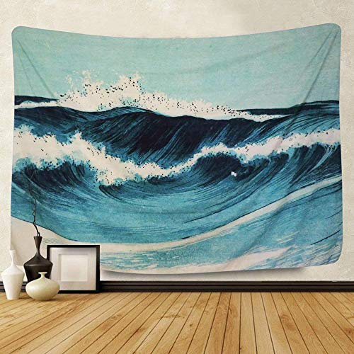hymzdpz Tapestry Sea Spray Wave Blue Home Decoration Living Room Bedroom Dormitory Tablecloth Bed Linen Curtains-200 * 150Cm (79 * 59')
