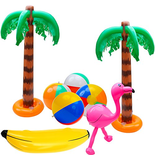 Elcoho 8 Pack Inflatable Palm Trees Flamingos Toys Inflatable Banana Beach Balls for Hawaii Party Décor Luau Party Backdrop