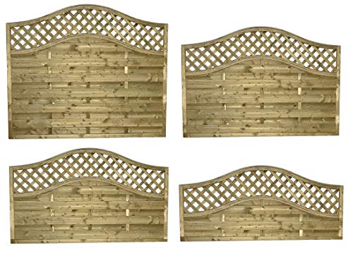 Elite Omega/Woodbury/Sussex Wave Top Lattice Fence Panels in 4 Sizes (180cm Wide x 90cm Tall at Shoulder)