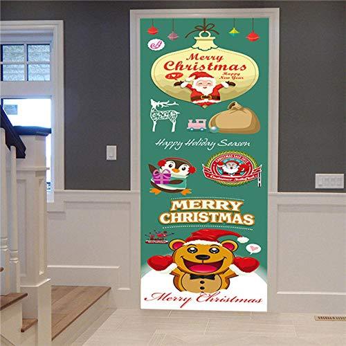 FJSZ Etiqueta De La Puerta Etiqueta Engomada De La Puerta 3D Regalo del Árbol De Navidad Imagen De Escena De Nieve Autoadhesiva Etiqueta De La Puerta De Navidad