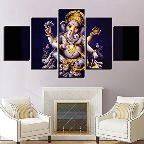 5 Piezas Cuadro sobre Lienzo De Fotos Dios Indio Lord Ganesh Elephant Lienzo Impresión Cuadros Decoracion Salon Grandes Cuadros para Dormitorios Modernos Mural Pared Listo para Colgar