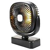 YTRQ Desktop im Freienzelt-Fan USB-Ladefeld Camping Haken Nachtlichter Rotating Fan (Color : Black,...