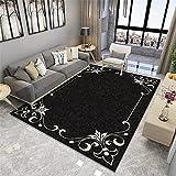 Alfombra De Salon Grandes Negro alfombras pelo corto salon Alfombra lavable cómoda moderna del dormitorio del salón de la sala de estar de la moda simple popular moderna del cordón alfombras online 60