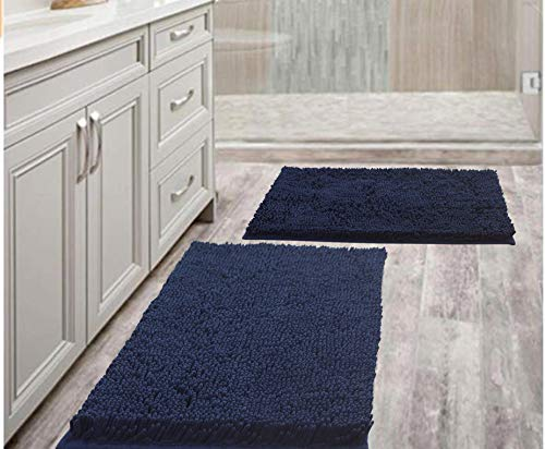 Bathroom Rugs Mats 20' x 30' Set of 2 Navy Luxury Chenille Bath Mat Super Absorbent Bath Rug Machine Washable Perfect Plush Carpet for Shower, Bath Room, Bedroom and Kitchen (20' x 30', Navy)