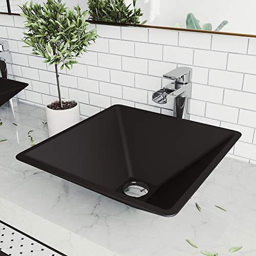 For Sale! Vigo VG07108 Black Square Serato MatteShell Tempered Glass Vessel Bowl Bathroom Sink
