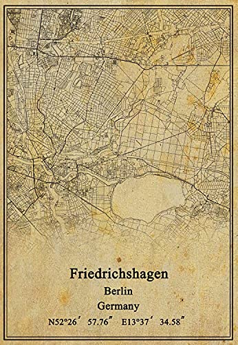 Leinwanddruck, Motiv: Deutschland-Friedrichshagen, Berlin-Karte, Vintage-Stil, ungerahmt, Dekoration, Geschenk, 61 x 91 cm