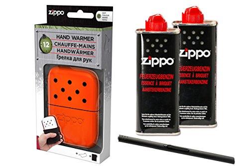 Handwarmer oranje met 2 flessen benzine & MM staafaansteker