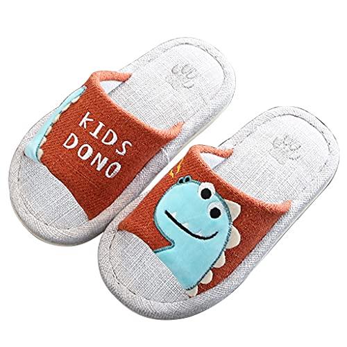 HSHOR Zuecos de jardín para niños, zapatillas de fieltro para el hogar, con memoria, antideslizantes, de lino y algodón, zapatillas ligeras (color: rojo, tamaño: 32-33EU)