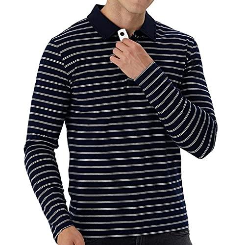 Esque Camiseta De Golf A Rayas para Hombre/Camiseta Solapa con Botones Hombre/Ajuste CláSico BotóN La Camisa AlgodóN Deportes Casual T-Shirt/BotóN/Solapa/Deportes/Casual/Jersey(Azul Marino,M)