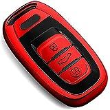 COVELL für Audi Autoschlüssel Hülle, Prämie Weiches TPU Schutzhülle Schlüsselhülle für Audi A4 A5 A6 A7 A8 Q5 Q8 R8 S4 S5 S6 S7 RS4 RS5 RS6 RS7 Autoschlüssel, Rot