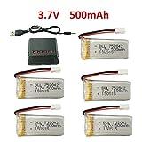 Fytoo 5pcs 3.7V 500mAh 25C Lipo Akku mit Ladegeräte für JJRC H31 H37 H6D Hubsan X4 FPV H107C H107D H107L H107P H108 JXD392 JXD388 JXD385 UDI U816A SYMA X5C X5SW HS170 HS170C HS170G F180W...