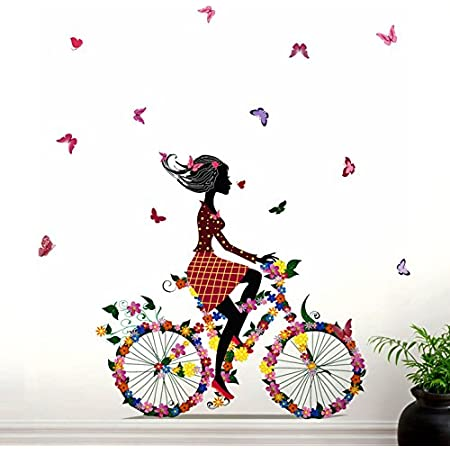 Decals Design 'Bicycle with Flowers and Girl' Wall Sticker (PVC Vinyl, 90 cm x 60 cm, Black)