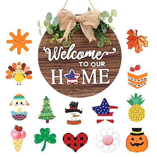 4th of July Welcome Door Sign Wooden Round Hanger with 14 Pcs Magnetic Stickers Wreaths,Artificial Wood Decor Mother's Day Independent Day Interchangeable Home Sign Rustic Farmhouse Home Decorations