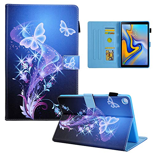 Folio Case for Samsung Galaxy Tab S5e 10.5 Inch 2019 Cover (SM-T720/T725), Uliking Shockproof PU Leather Multi-Angle Stand Wallet Magnetic Shell with Stylus Pencil Holder Card Slots, Purple Butterfly