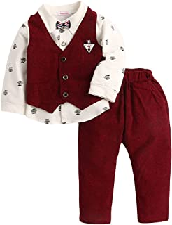 Hopscotch Baby Boys Cotton Mustache Print Full Sleeves Shirt Waistcoat and Pant Set in Red Color