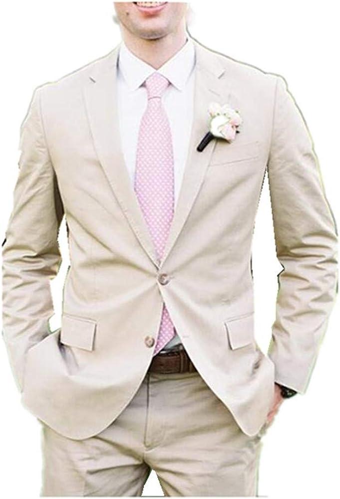 Notch Lapel Mens Suits 2 Button Slim Fit 2 Pieces Suit Blazer Slim Fit Causal Groom Tuxedo