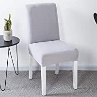キッチンクッション 2/4 / 6PCSキッチンウェディングパーティホテルのための固体カラー椅子カバースパンデックスストレッチ弾性のslipcovers椅子カバー ダイニングチェアクッション (Color : Silver Gray, Specification : 2pcs)