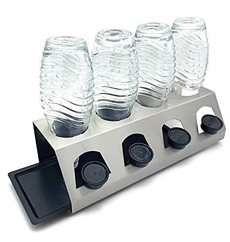 SodaClean® Premium Abtropfhalter aus Edelstahl mit Abtropfwanne - für SodaStream und Emil Flaschen | spülmaschinenfest Abtropfständer Abtropfgestell inkl. Deckelhalterung | Crystal Easy Power (4er)
