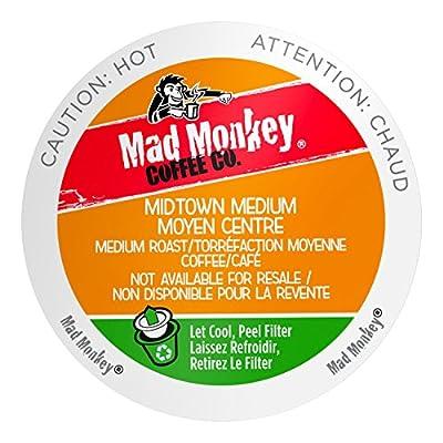 Mad Monkey Single Serve Coffee Capsules, Midtown Medium, 100% Arabica Medium Roast, Compatible with Keurig K-Cup Brewers, 48 Count