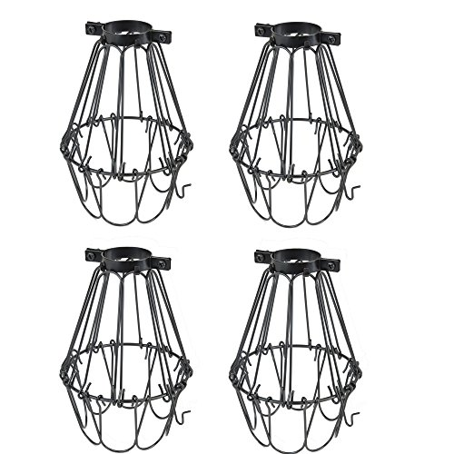 Rustic State Set of 4 Industrial Vintage Style   Hanging Pendant Metal Wire Cage   Adjustable Light Fixture Lamp Guard (Black)